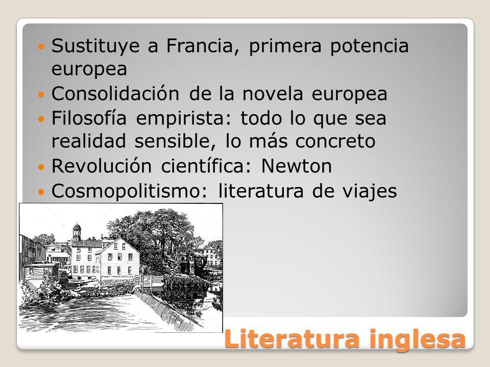 Literatura inglesa Sustituye a Francia, primera potencia europea