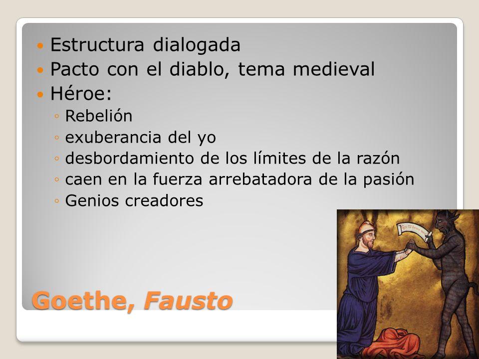 Goethe, Fausto Estructura dialogada Pacto con el diablo, tema medieval