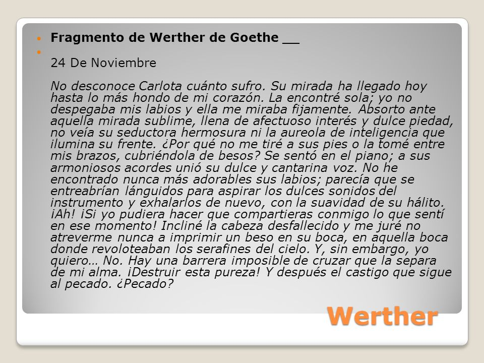 Werther Fragmento de Werther de Goethe __