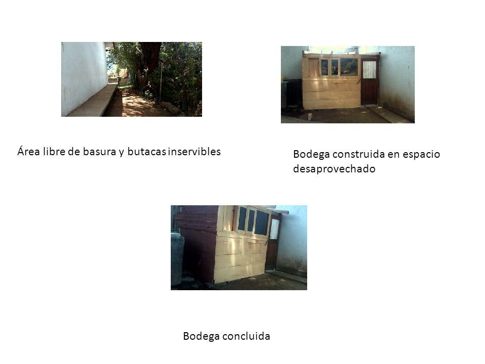 Área libre de basura y butacas inservibles