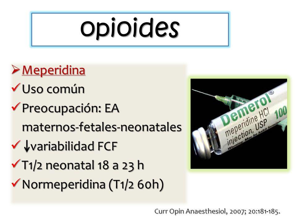 opioides Meperidina Uso común Preocupación: EA