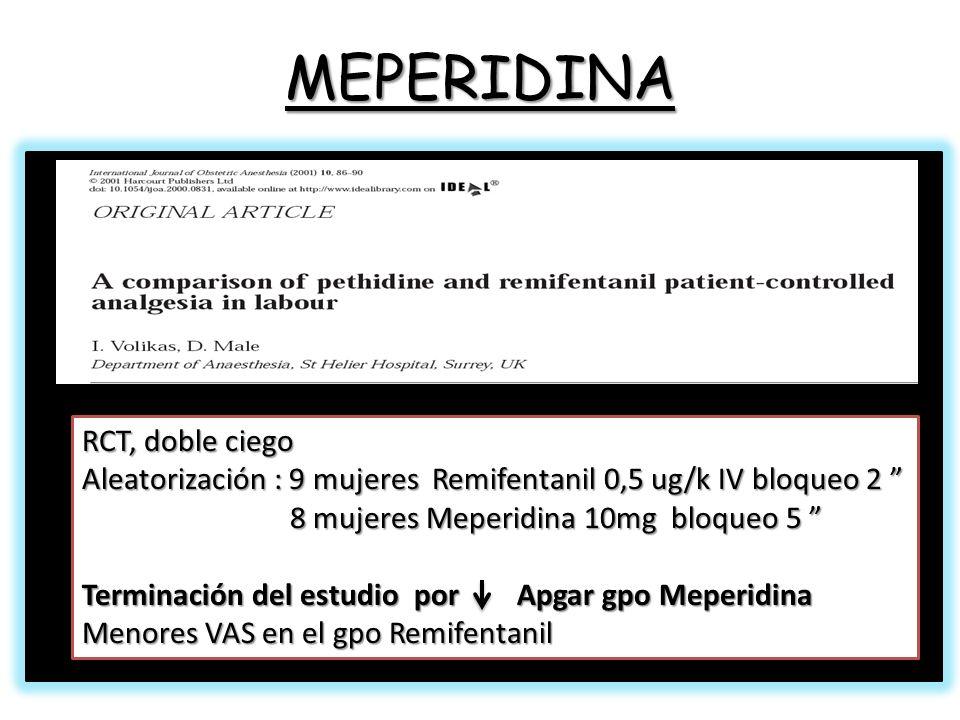 MEPERIDINA RCT, doble ciego