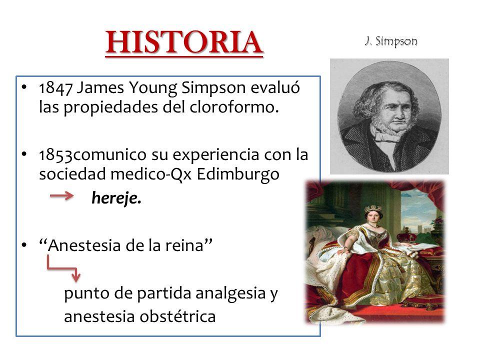 HISTORIA J. Simpson. 1847 James Young Simpson evaluó las propiedades del cloroformo.