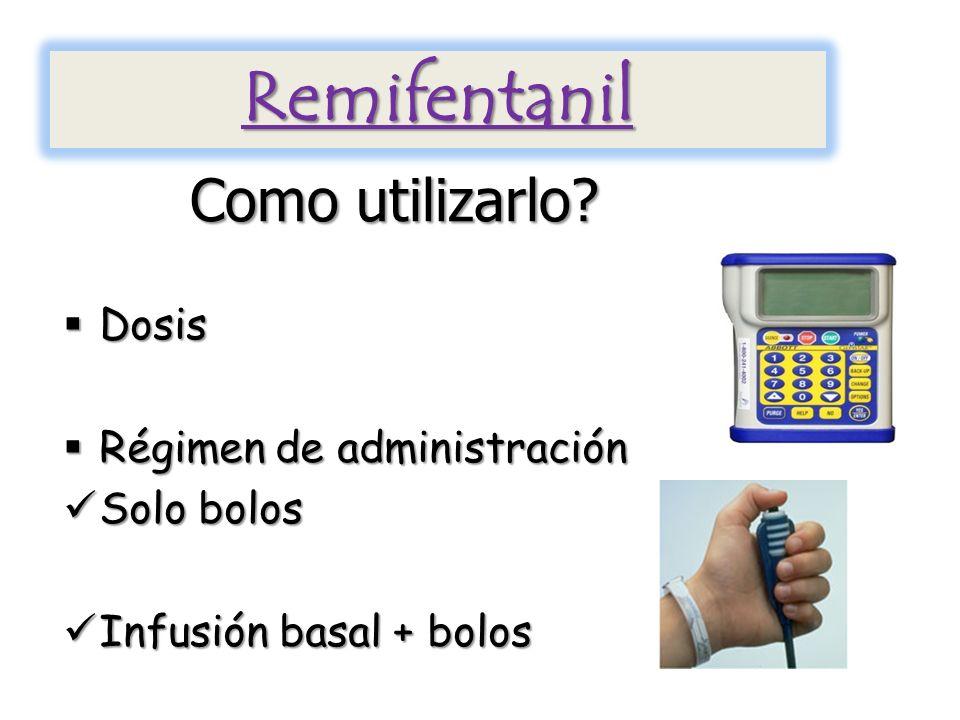 Remifentanil Como utilizarlo Dosis Régimen de administración