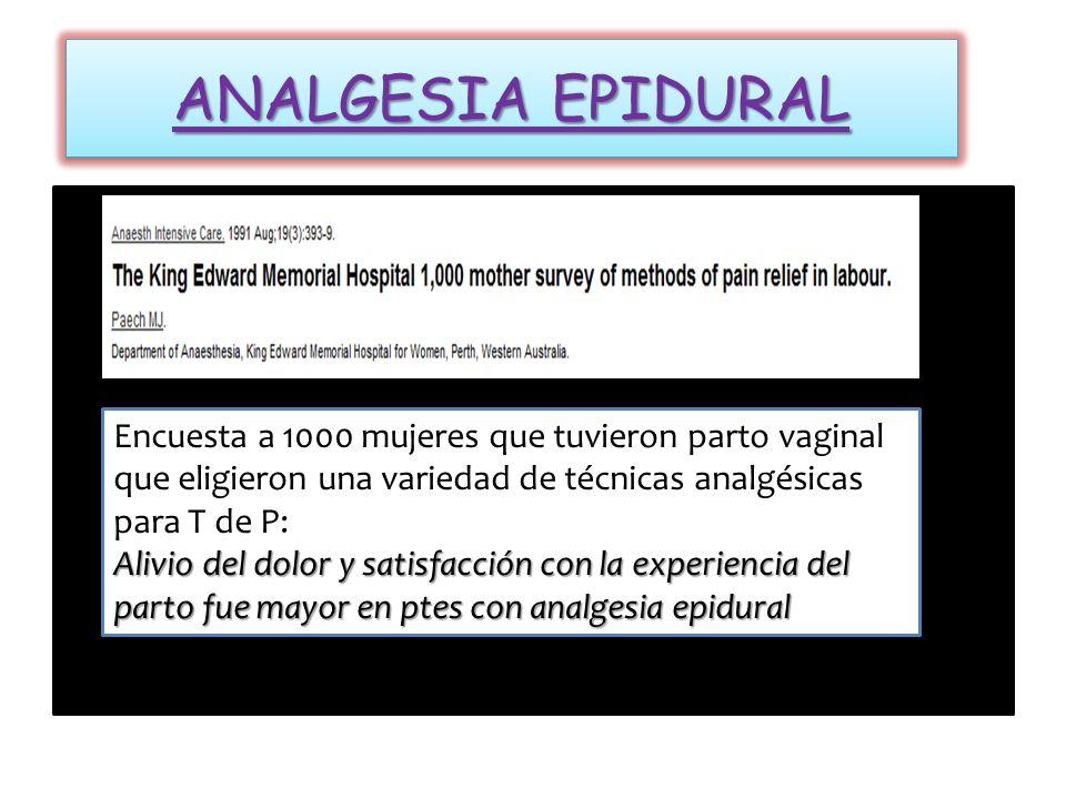 ANALGESIA EPIDURAL Encuesta a 1000 mujeres que tuvieron parto vaginal que eligieron una variedad de técnicas analgésicas para T de P:
