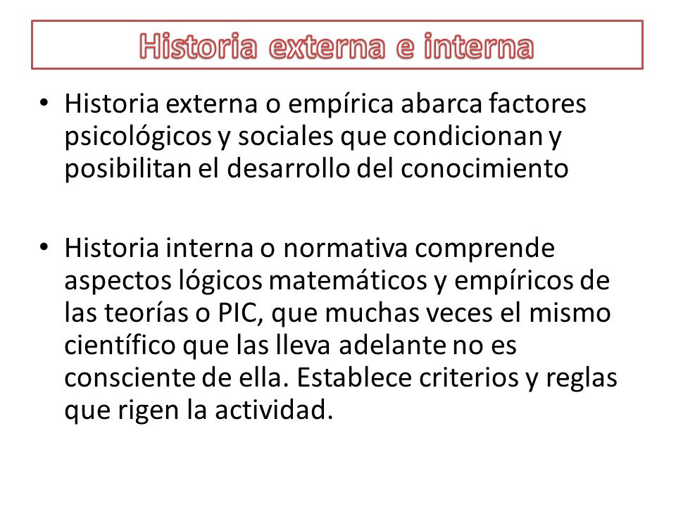 Historia externa e interna