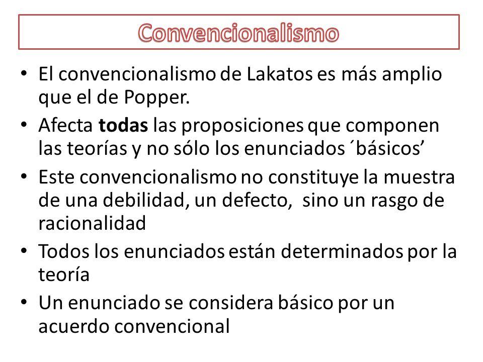 Convencionalismo El convencionalismo de Lakatos es más amplio que el de Popper.