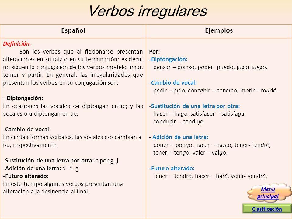 Verbos irregulares Español Ejemplos Definición.