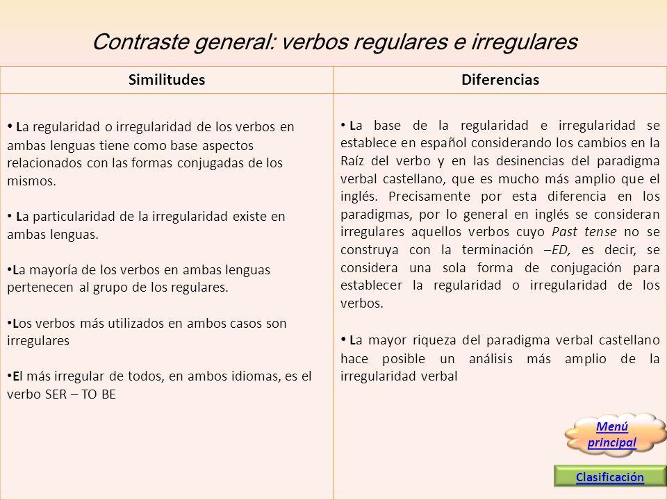 Contraste general: verbos regulares e irregulares