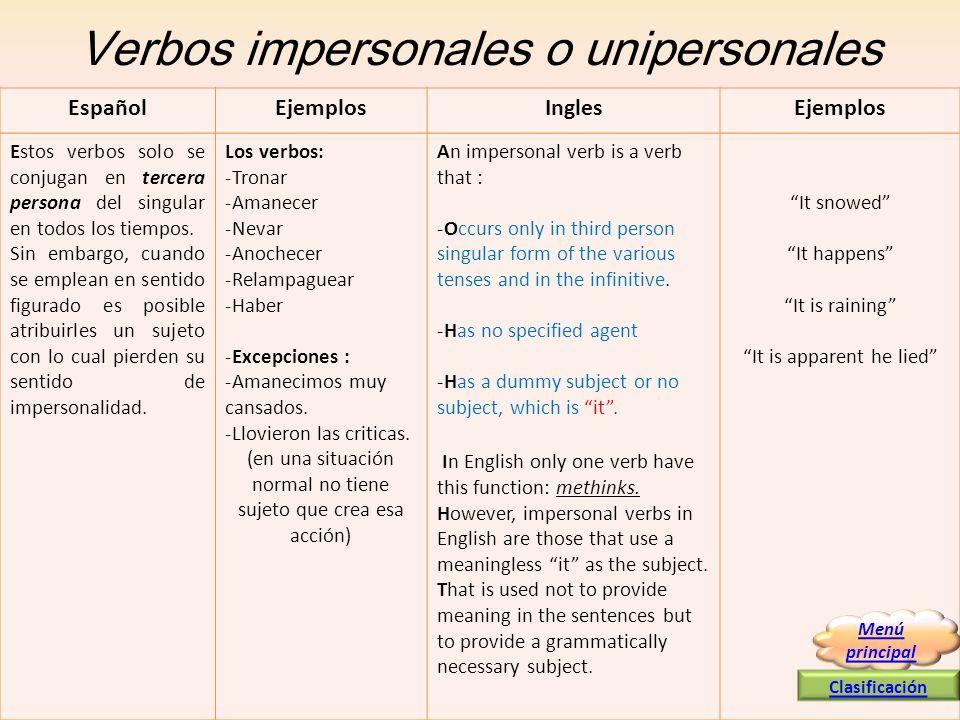 Verbos impersonales o unipersonales