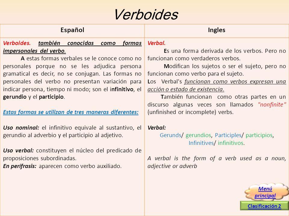 Verboides Español Ingles