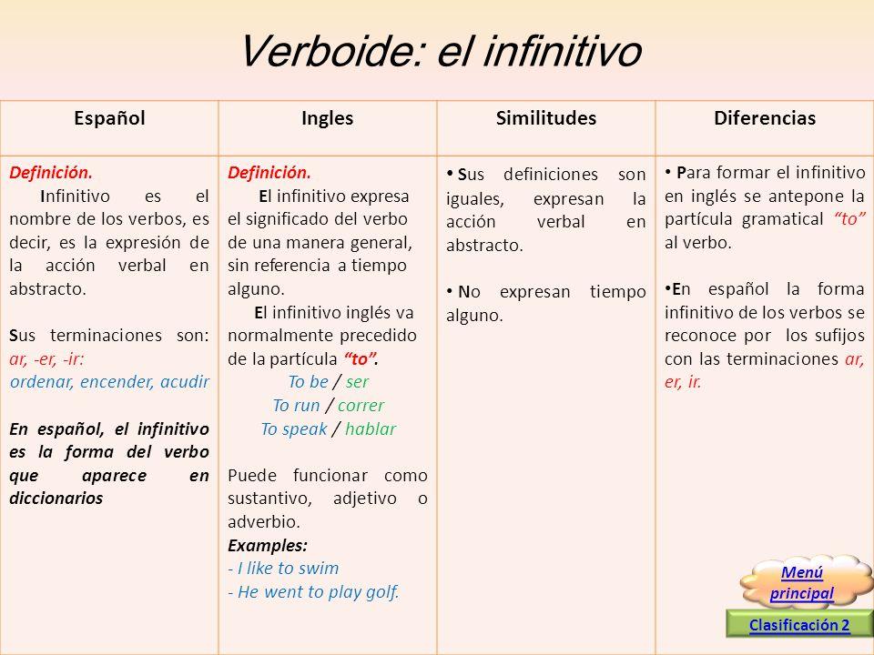 Verboide: el infinitivo