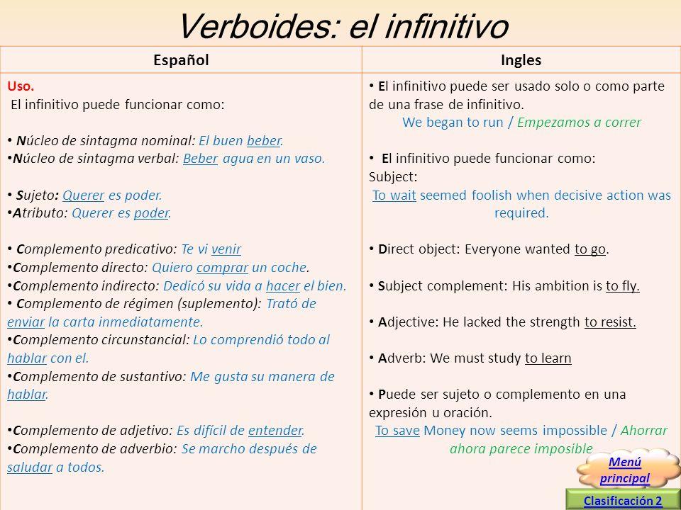 Verboides: el infinitivo