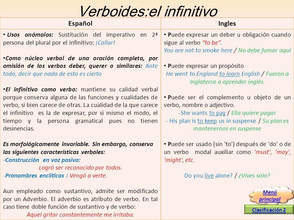 Verboides:el infinitivo