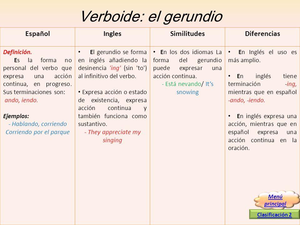 Verboide: el gerundio Español Ingles Similitudes Diferencias