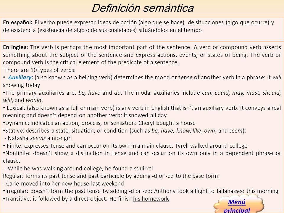 Definición semántica Menú principal
