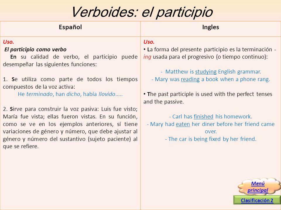 Verboides: el participio