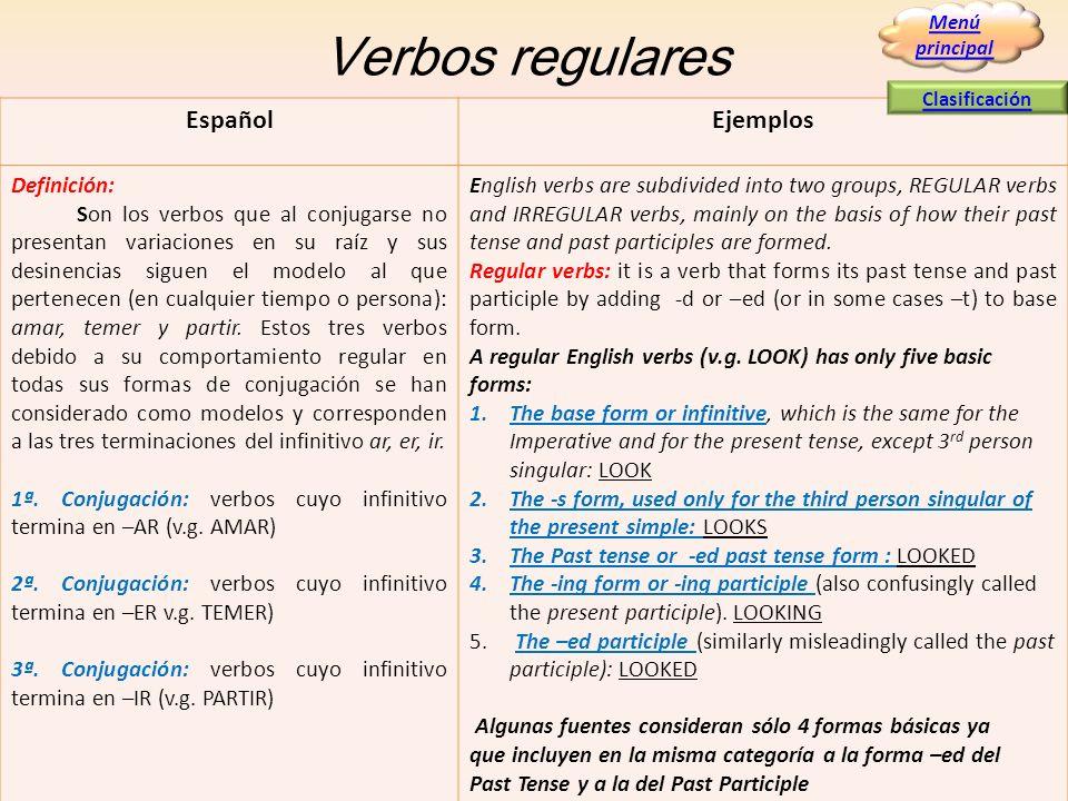 Verbos regulares Español Ejemplos Definición: