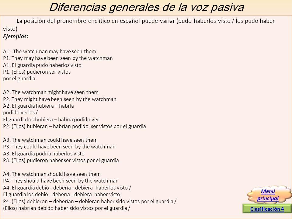 Diferencias generales de la voz pasiva