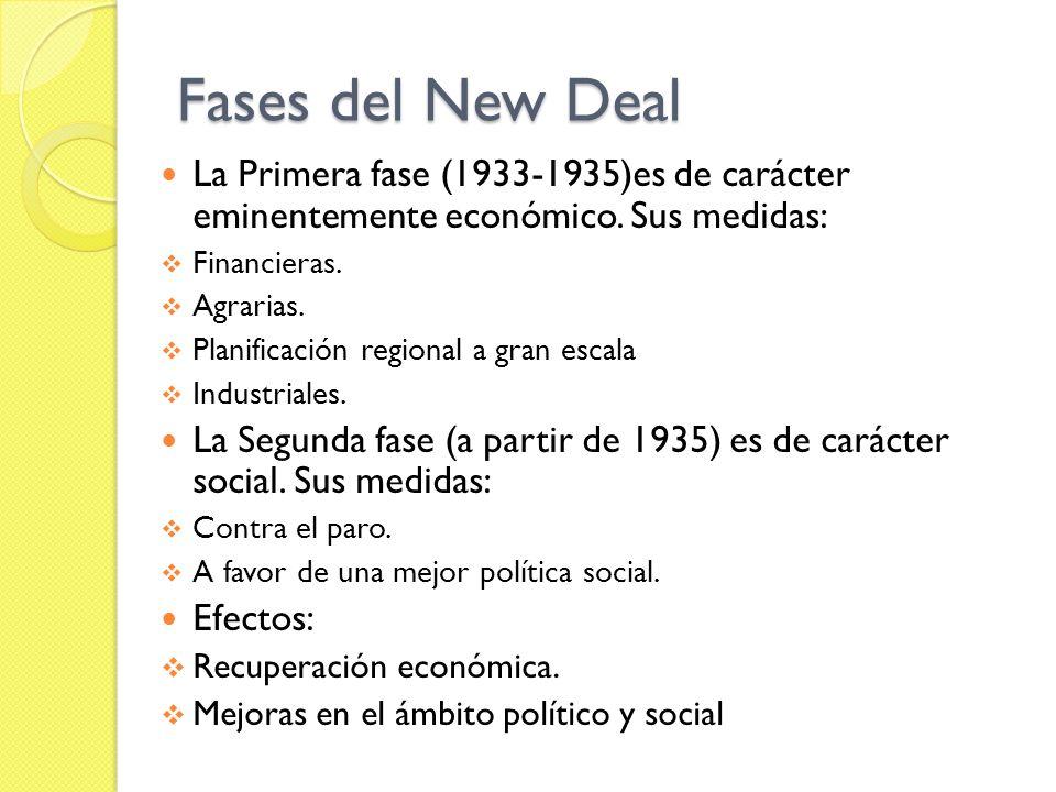 Fases del New Deal La Primera fase (1933-1935)es de carácter eminentemente económico. Sus medidas: