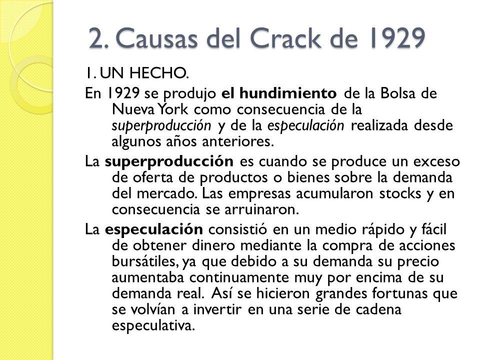 2. Causas del Crack de 1929 1. UN HECHO.