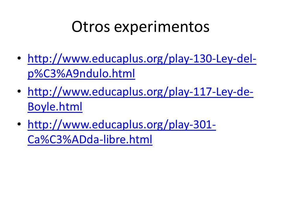 Otros experimentos http://www.educaplus.org/play-130-Ley-del-p%C3%A9ndulo.html. http://www.educaplus.org/play-117-Ley-de-Boyle.html.