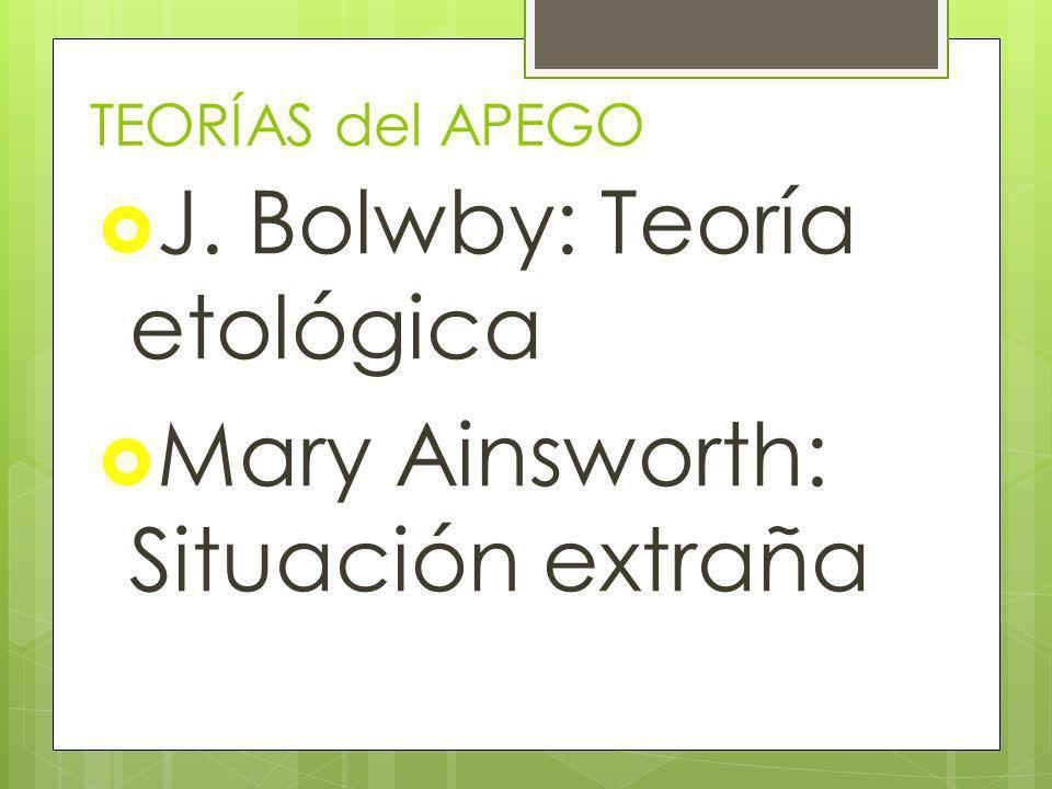 J. Bolwby: Teoría etológica Mary Ainsworth: Situación extraña