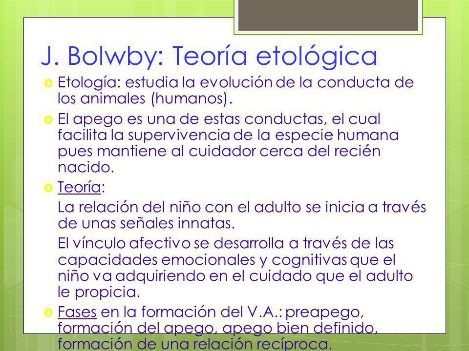 J. Bolwby: Teoría etológica