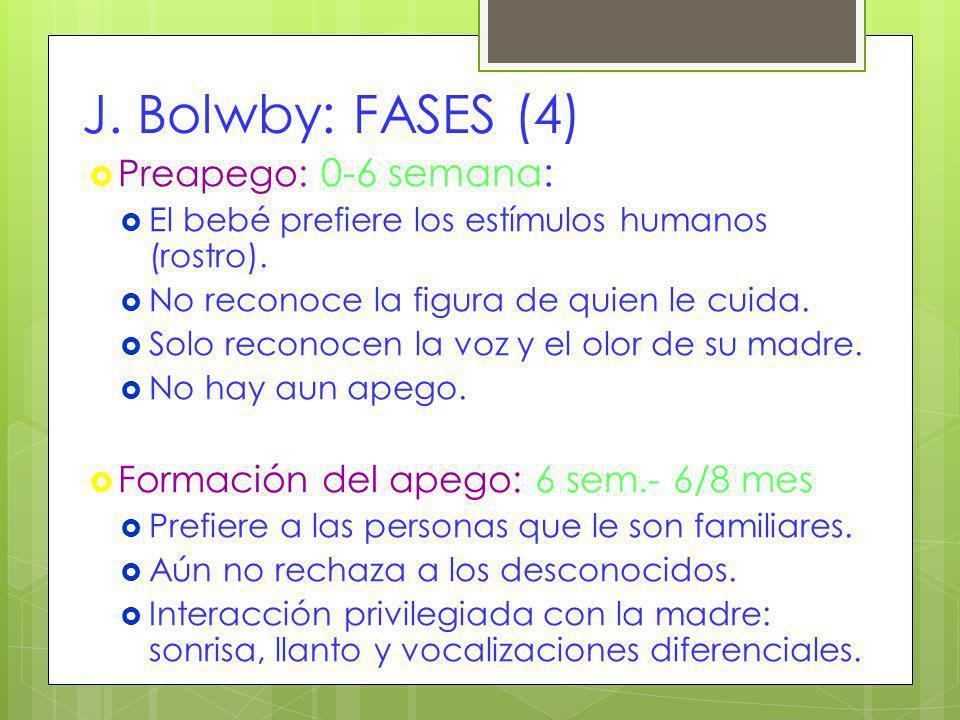 J. Bolwby: FASES (4) Preapego: 0-6 semana: