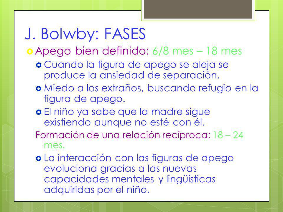 J. Bolwby: FASES Apego bien definido: 6/8 mes – 18 mes
