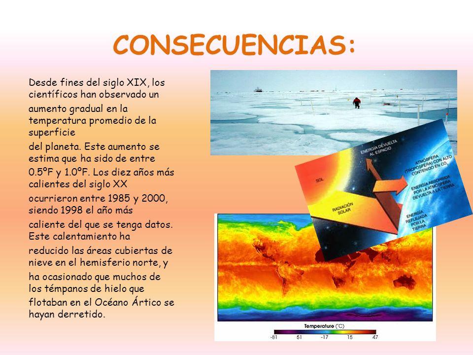 CONSECUENCIAS: Desde fines del siglo XIX, los científicos han observado un. aumento gradual en la temperatura promedio de la superficie.