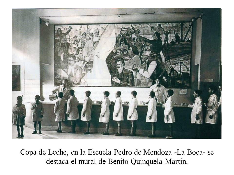 Copa de Leche, en la Escuela Pedro de Mendoza -La Boca- se destaca el mural de Benito Quinquela Martín.