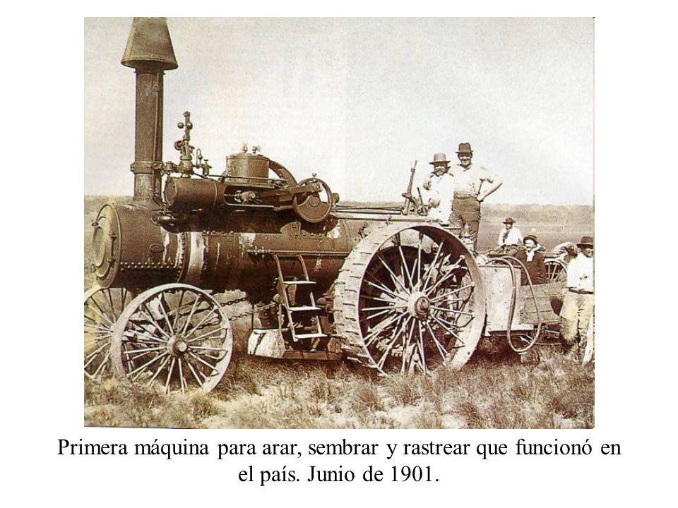 Primera máquina para arar, sembrar y rastrear que funcionó en el país