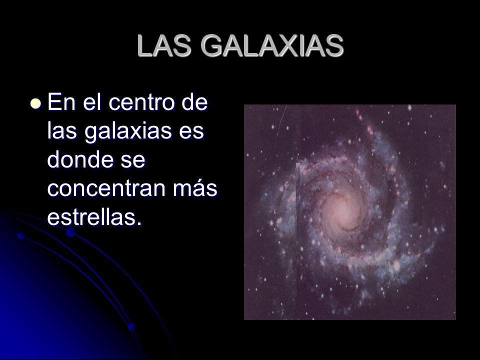 LAS GALAXIAS En el centro de las galaxias es donde se concentran más estrellas.