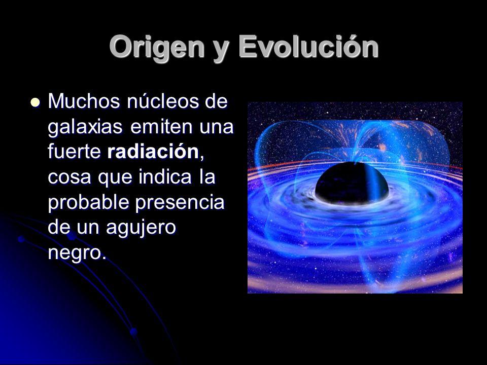 Origen y Evolución Muchos núcleos de galaxias emiten una fuerte radiación, cosa que indica la probable presencia de un agujero negro.