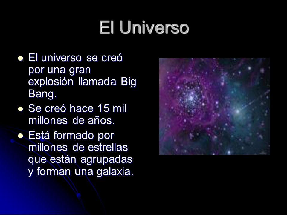 El Universo El universo se creó por una gran explosión llamada Big Bang. Se creó hace 15 mil millones de años.