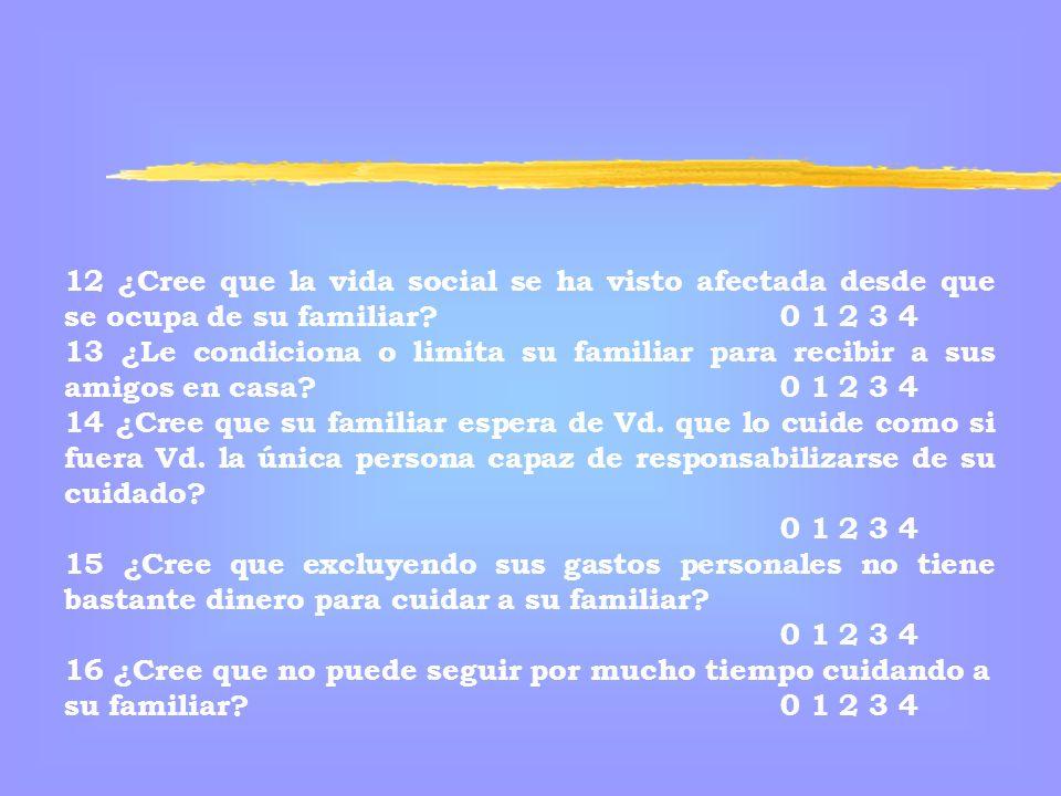 12 ¿Cree que la vida social se ha visto afectada desde que se ocupa de su familiar 0 1 2 3 4
