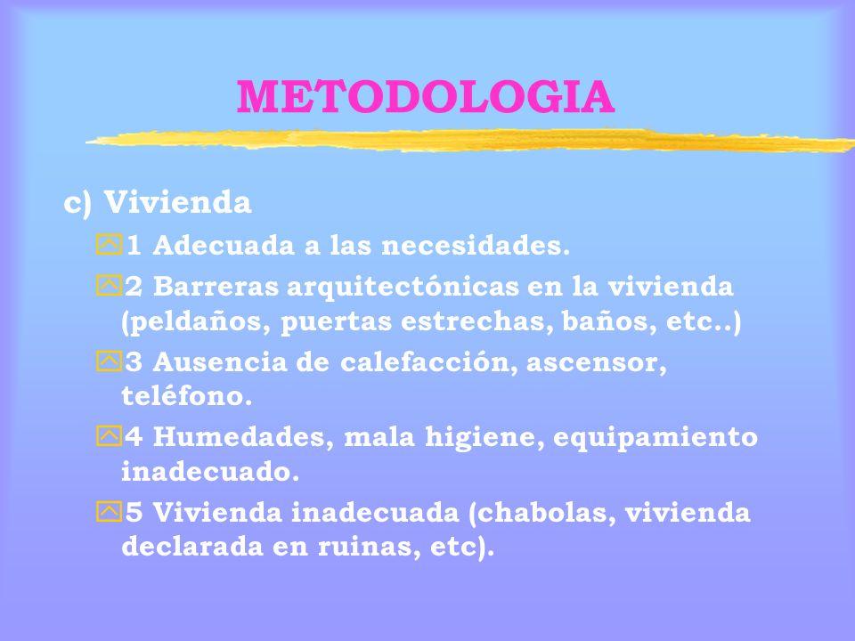 METODOLOGIA c) Vivienda 1 Adecuada a las necesidades.