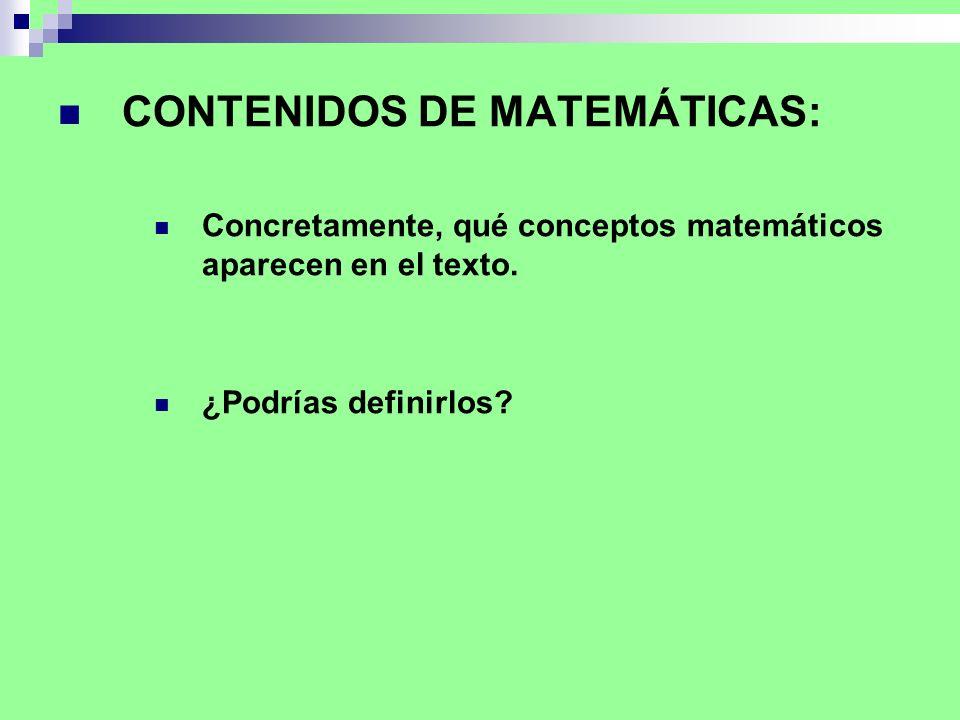 CONTENIDOS DE MATEMÁTICAS: