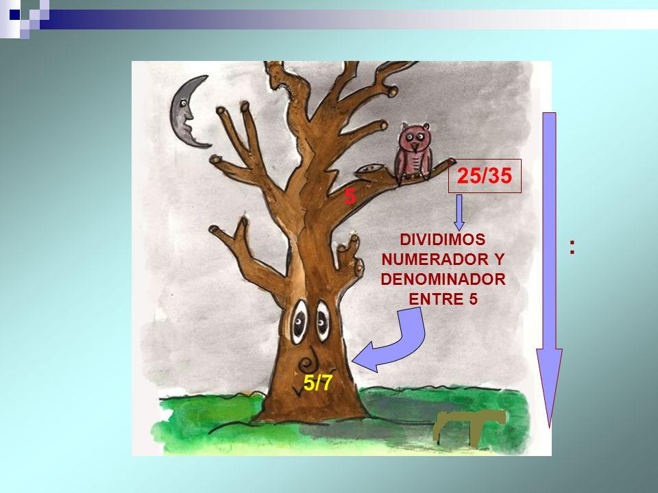 DIVIDIMOS NUMERADOR Y DENOMINADOR ENTRE 5