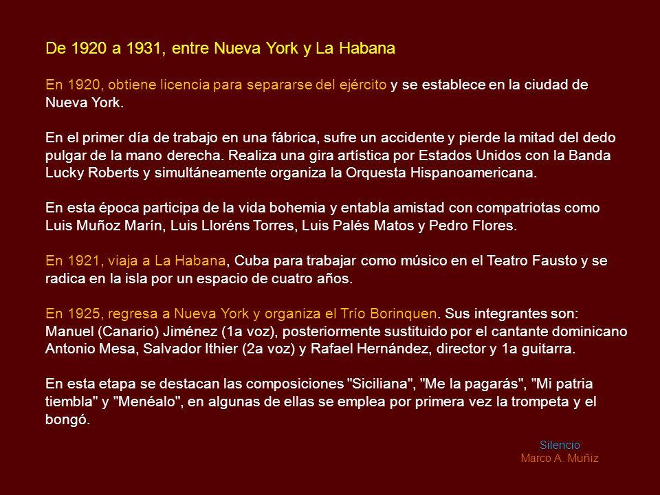 De 1920 a 1931, entre Nueva York y La Habana