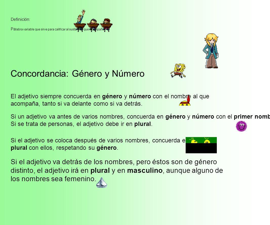 Concordancia: Género y Número