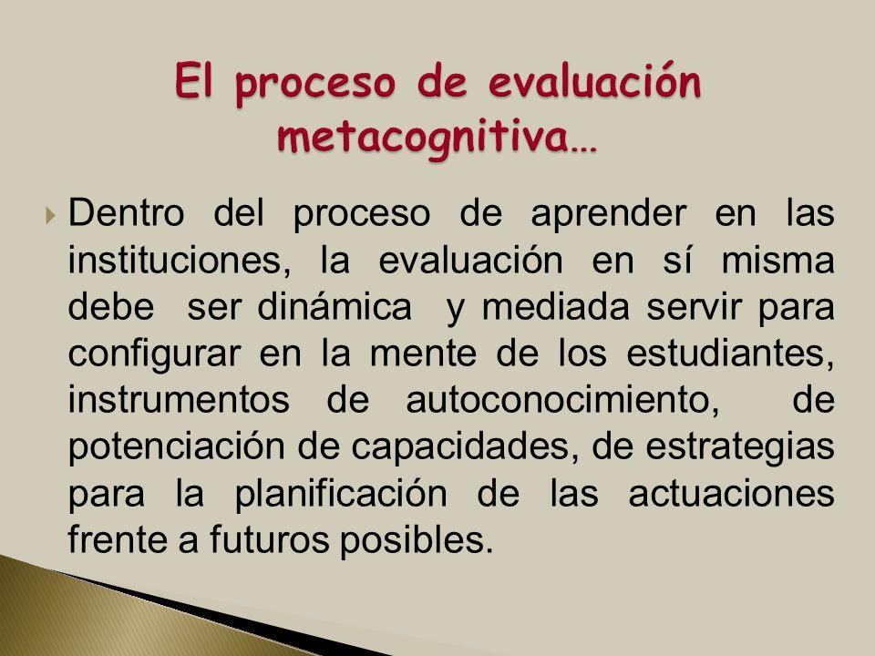 El proceso de evaluación metacognitiva…