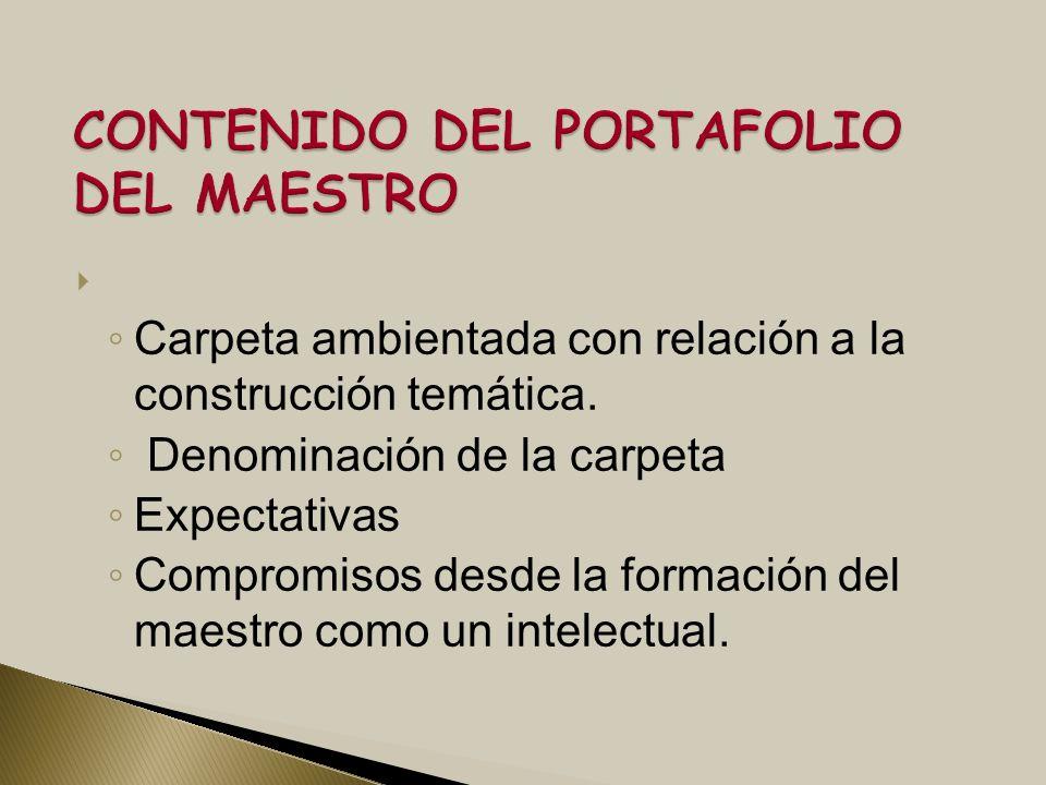 CONTENIDO DEL PORTAFOLIO DEL MAESTRO