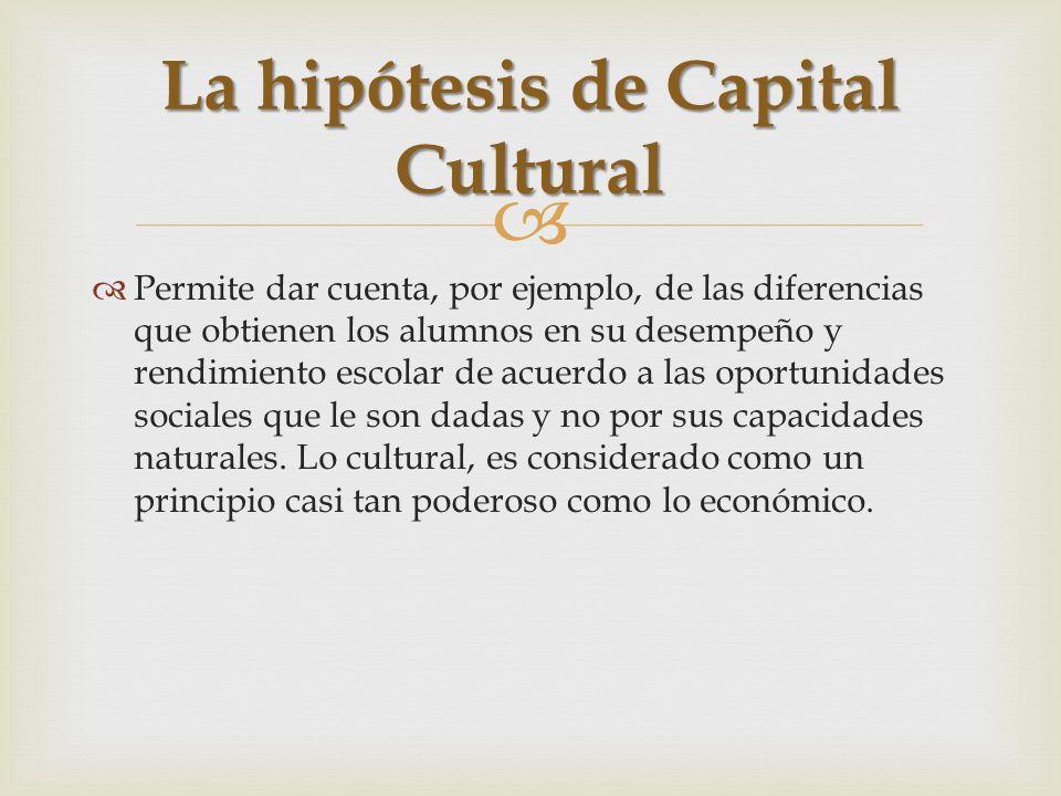La hipótesis de Capital Cultural