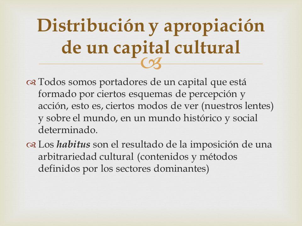 Distribución y apropiación de un capital cultural