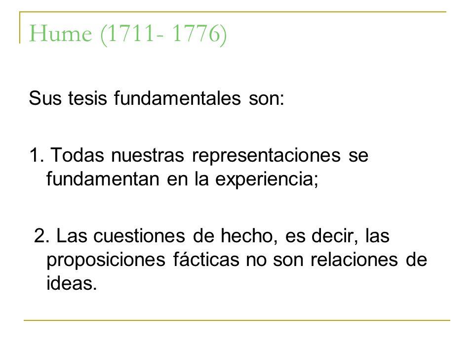 Hume (1711- 1776) Sus tesis fundamentales son: