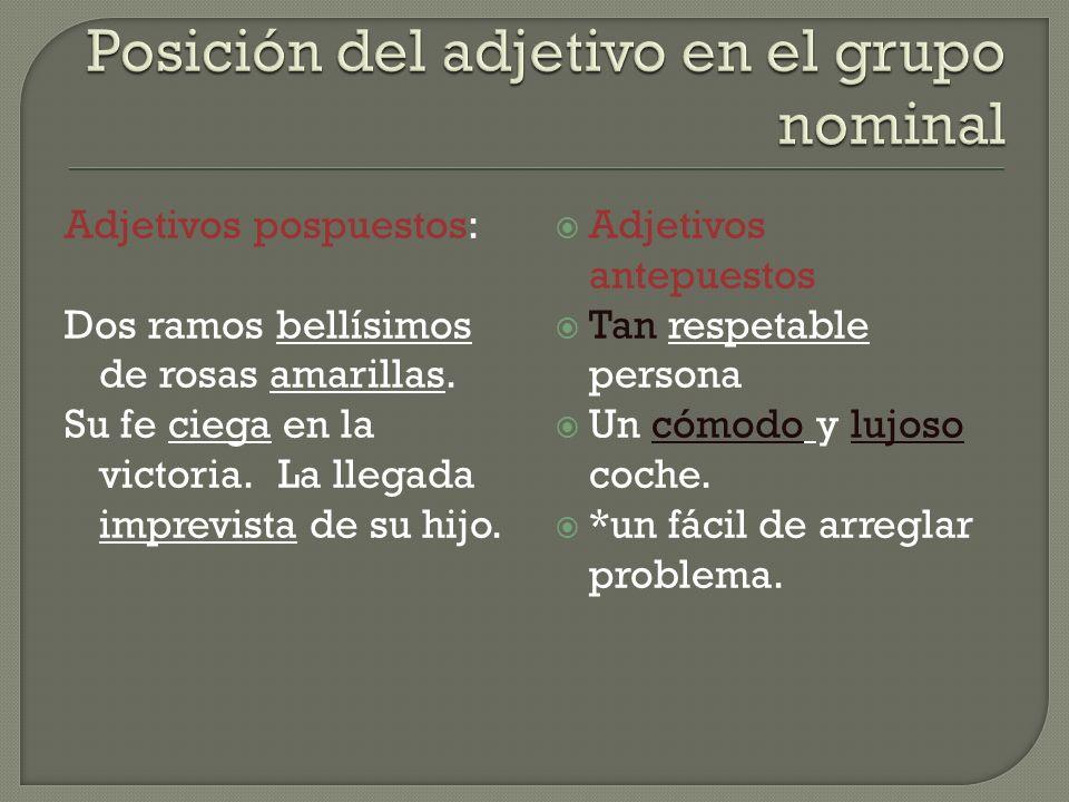 Posición del adjetivo en el grupo nominal
