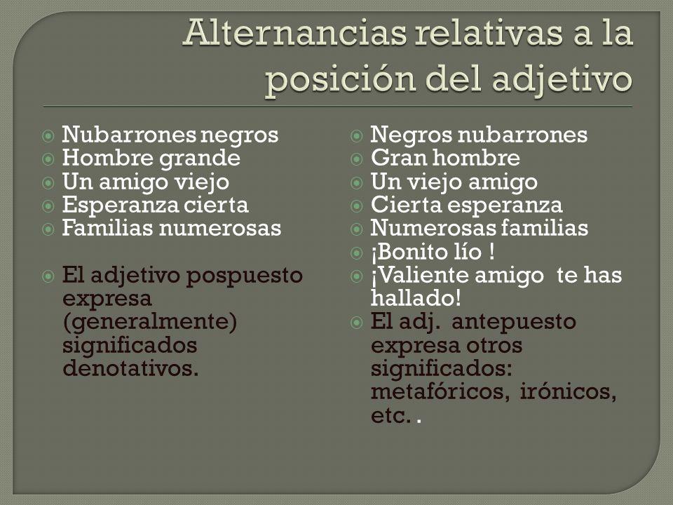 Alternancias relativas a la posición del adjetivo