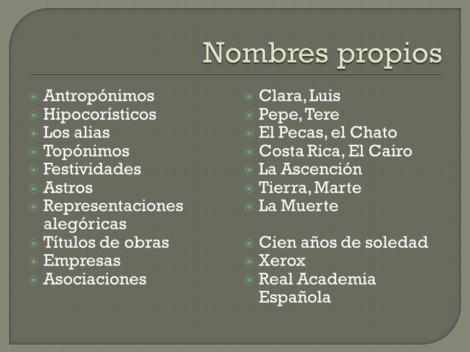 Nombres propios Antropónimos Hipocorísticos Los alias Topónimos